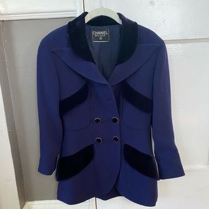 Vintage Chanel Jacket Wool and Velvet